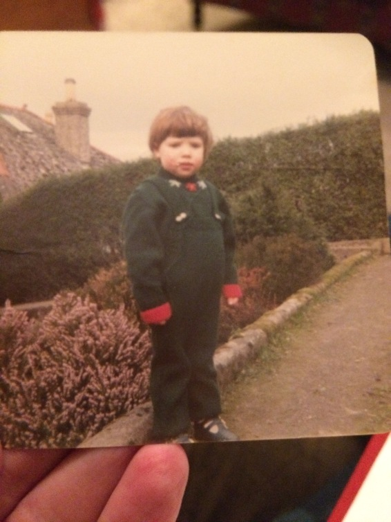 A fully knitted outfit - complete with dungarees, jumper and the hat (in the next image) which still fits 30 odd years later!